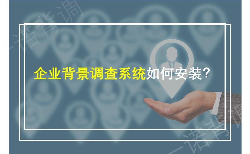 企业背景调查系统如何安装?